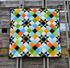 This listing is for the Ohio Stars in Solids quilt pattern only. It is a downloadable pdf file, available to be accessed immediately following