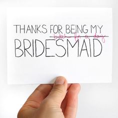 Thanks For Being My Bridesmaid Card. Bridesmaid Thank You Card. Pink, Black, White. Handmade Blank Card.