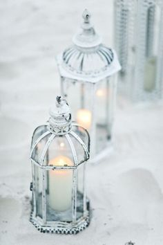 Shabby Chic Candles in lanterns Candle Lanterns, White Lanterns, Silver Lanterns, Lantern Lighting, Flameless Candles, Candle Jars, Candle Holders, Wedding Decorations, Wedding Lanterns