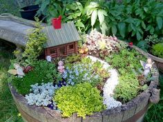 How To Make A Fairy Garden Container How To Create A Fairy Garden In A Container Flea Market Gardening Mini Fairy Garden, Gnome Garden, Fairy Gardening, Garden Whimsy, Garden Junk, Garden Cottage, Garden Sheds, Create A Fairy, Flea Market Gardening
