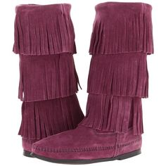 Minnetonka Calf Hi 3-Layer Fringe Boot ($68) ❤ liked on Polyvore featuring shoes, boots, 44. wrestling shoes., mid-calf boots, plum suede, light weight boots, suede fringe boots, long fringe boots and minnetonka boots
