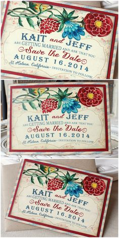 Floral Watercolor Wedding Save the Date Magnet  in cheerful shades of red, blue green and yellow | Sunshine and Ravioli
