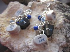 Calculator Button Charm Earrings with Blue Beads by Soareyou, $19.99
