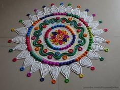 Multicolored and innovative rangoli design for Diwali Pencil Crafts, Rangoli Colours, Special Rangoli, Rangoli Ideas, Rangoli Designs Images, Flower Rangoli, Simple Rangoli, Lord Ganesha, Diwali