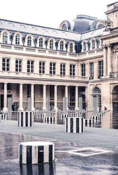 Colonnes de Buren, Palais Royal and an old Palace in 1e arrondissement of Paris, France