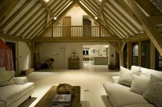 I really like the clarity of the structure in this wide barnroom extension by Carpenter Oak - LJ Barn Living, Living Area, Living Room, Oak Framed Buildings, Oak Frame House, Converted Barn, Barn Renovation, House Extensions, My Dream Home