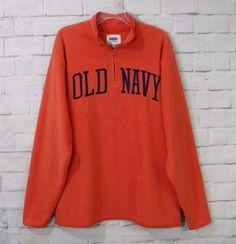 Mens OLD NAVY Orange Blue Fleece ¼ Zip Pullover Sweatshirt Shirt Size XXL #OldNavy #14Zip