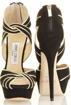 Jimmy Choo  Trending black and gold stiletto heeled sandals with cute zipper on heel, black platform and heels, and intertwined black and gold straps. . find more women fashion on misspool.com