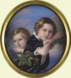 A miniature of Prince Arthur and Prince Leopold painted by William Charles Bell. This was a gift from Victoria to Albert.