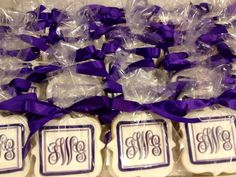 Bridal Shower Luncheon - Bride's new Monogram - See more of our cookies at http://www.ctcookietreats.com