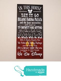 In This House We Do Disney Wooden Sign, Disney Sign, Shabby Chic Disney  Quote