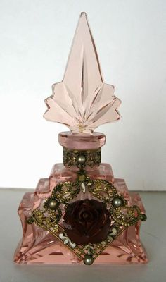 Rare Art Deco Czech Pink Glass Perfume Bottle w' metal filigree fan shaped badge inset with pearls & a Blood Red Rose.