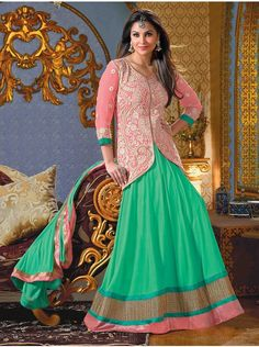 Buy Green And Light Pink Georgette Anarkali Suit With Zari And Resham Embroidery Work Online - Saree.com