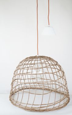 Wonderful lamp made from wicker...let it shine...