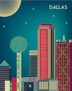 Dallas, Texas Skyline, Vertical City Wall Art Poster Print for Home, Office, and Nursery - style E8-O-DAL #skyline