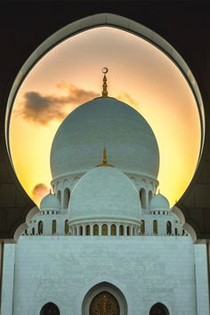 Main Dome through Arc gate of Sheikh Zayed Grand Mosque in Abu Dhabi