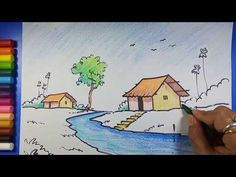 Easy and Simple Village Scenery / Landscape, Art for Class 1 , Art for Class 2 , Art for Class 3 & 4 Landscape Drawings, Step By Step Drawing, Avengers, Crafts For Kids, Scenery, Eye, Health, House, Food