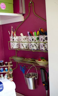 turn a shower caddy into a craft room organizer.So want to do this when I have a craft room someday! Do It Yourself Organization, Craft Organization, Craft Storage, Extra Storage, Storage Ideas, Shower Rack, Shower Caddies, Diy Shower, Josie Loves