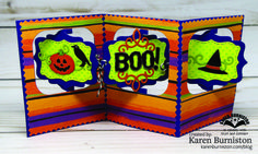 Karen Burniston using the Charm Accordion, Katherine Label, Gift Card Label and Halloween Elements die sets from KarenBurniston.com