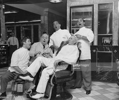 """""""The terminal Barber Shop at the Hotel Statler took on the aspect of real old times today, as four Met stars donned barber uniforms and teamed up in a """"barbershop quartet"""" to serenade their barber,. Barber Shop Haircuts, Barber Shop Quartet, Seven Heavens, Sweeney Todd, Music Licensing, Opera Singers, School Shopping, At The Hotel, The Good Old Days"""