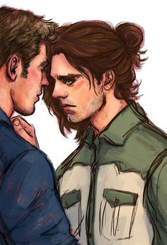 [Image: Steve Rogers and Bucky Barnes standing face to face; Bucky's hand is on Steve's chest.] stonelions: c'mon, buck. i'll lead, if you want. ||| brotp okay don't judge me xD