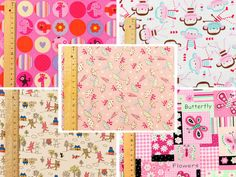 Pink FQ Fabric ♥ Kid Baby Girl ♥ Cotton ♥ Monkey Umbrella Butterfly Fat Quarter