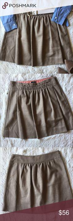 J. Crew oatmeal/ tan wool skirt Like new condition. J. Crew skirt. Size 4. 97% wool, 3% elastane. Lining 100% Acetate. Pockets and side zipper. J. Crew Skirts Mini
