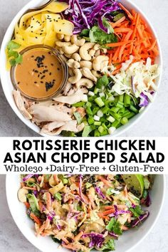 20 Minute Asian Chopped Rotisserie Chicken Salad – perfect for those nights when you have nothing else planned! 20 Minute Asian Chopped Rotisserie Chicken Salad – perfect for those nights when you have nothing else planned! Whole 30 Salads, Whole Foods, Whole Food Recipes, Whole 30 Meals, Whole 30 Snacks, Easy Whole 30 Recipes, Whole 30 Meal Plan, Whole 30 Lunch, Whole 30 Diet