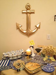 #nautical themed bridal shower. Spray painted anchor!