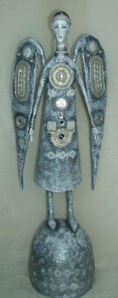 """Winter"". Art doll by Svetlana Rumyantseva. Paper mache, bead, pearl"