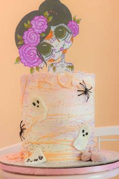 Check out this spooky Halloween party! The cake is awesome! See more party ideas and share yours at CatchMyParty.com  #catchmyparty #partyideas #halloween #halloweenparty #halloweencake