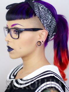 Sokolum with purple and orange hair, love that combo! Fancy Hairstyles, Wild Hairstyles, Goth Hairstyles, Locks, Shaved Hair Cuts, How To Draw Eyebrows, Hair Reference, Love Hair, Hair Art