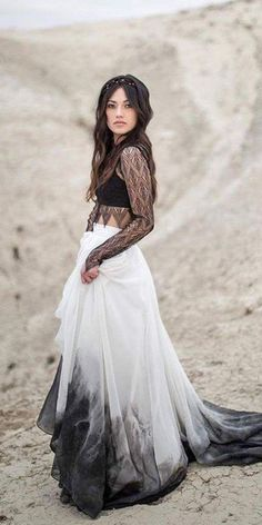 Alluring Boho Wedding Dress with Flowy Ombre Skirt and Lace Bodice