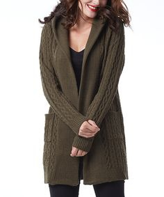 Look what I found on #zulily! Olive Cable-Knit Hooded Wool-Blend Open Cardigan #zulilyfinds