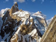 Baintha Brakk or The Ogre is a steep, craggy mountain, 7,285 metres (23,901 ft) high, in the Panmah Muztagh, a subrange of the Karakoram mountain range. It is located in Gilgit-Baltistan, Pakistan. It is famous for being one of the hardest peaks in the world to climb: twenty-four years elapsed between the first ascent in 1977 and the second in 2001.
