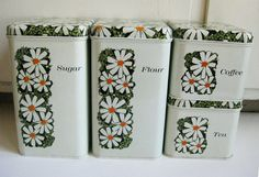 Vintage Kitchen Canisters, Retro Dasiy Design  My husband and I received this set for a wedding shower gift back in 1970.