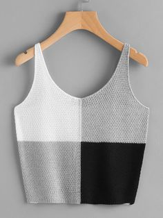 Online shopping for Color Block Knit Tank Top from a great selection of women's fashion clothing & more at MakeMeChic. Online shopping for Color Block Knit Tank Top from a great selection of women's fashion clothing & more at MakeMeChic. Crochet Summer Tops, Summer Knitting, Crochet Crop Top, Crochet Blouse, Knitted Tank Top, Pull Crochet, Mode Crochet, Knit Crochet, Crochet Clothes