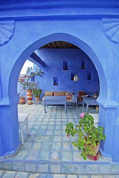 Chefchaouen - blue city in Morocco - by Sallyrango Moroccan Garden, Moroccan Style, Moroccan Blue, Marrakech, Patio Design, House Design, Le Riad, Mekka, Morocco Travel