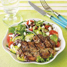 Grilled Lamb Chops with Greek Salad #recipe