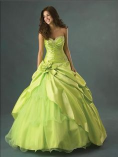 heart cleavage green wedding dress
