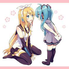 「ロリミクちゃんと、お姉さんリンちゃん」