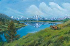 "Mount Moran Reflection by Nancee Jean Busse Acrylic ~ 24"" x 36"""