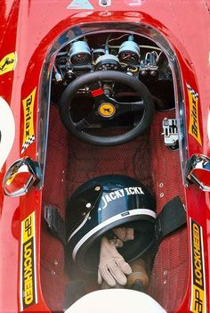 The helmet and gloves of Jacky Ickx in the cockpit of his Ferrari Ferrari F1, Ferrari Daytona, Ferrari Racing, F1 Racing, Grand Prix, Jochen Rindt, Harley Davidson, Mario Andretti, Ayrton Senna