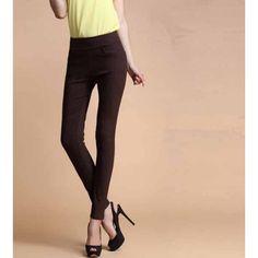 กางเกงเลคกิ้ง แฟชั่นเกาหลีเอวสูงสวยใส่สบายมีกระเป๋า นำเข้า สีกาแฟ - พร้อมส่งTJ7146 ราคา670บาท