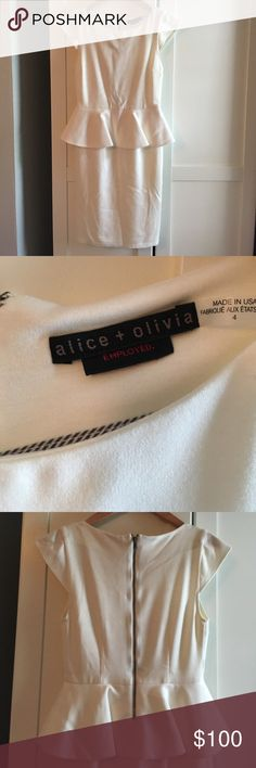 Alice & Olivia Dress - excellent condition Alice & Olivia Peplum Dress - only worn one for bridal shower- excellent condition. Lined so it's not see through. Size 4 Alice + Olivia Dresses Midi