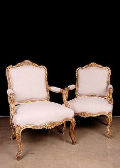 Pair Of Antique Louis XV Style Giltwood Armchairs From Neuilly-Sur-Seine  -  France   c.1870