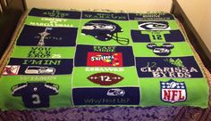 One of a kind Crochet Seahawks patch Blanket  or chair Throw with Russell Wilson jersey number 3, Beast Mode skittles, Why Not Us, Richard Sherman You Mad Bro, I'M IN! Seattle Space needle, 12th fan jersey, NFL logo , Legion of Boom ,person name Blanket or chair throw was crochet for also Crochet by me M