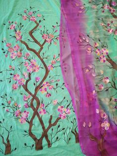 Hand painted by me Fabric Colour Painting, Acrylic Paint On Fabric, Fabric Paint Designs, Dress Painting, Stencil Painting, Painting Patterns, Fabric Painting, Hand Painted Sarees, Hand Painted Fabric