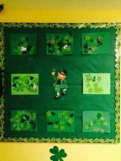 My preschool bulletin board for March/St.PatricksDay  Green collage  Tissue, streams, design green paper