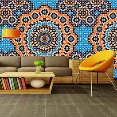 """Unapologetic use of Moroccan tile motif in this modern room says """"Life is abundant and exciting!"""""""